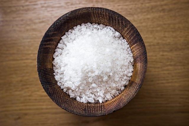 Sea salt in a wooden bowl