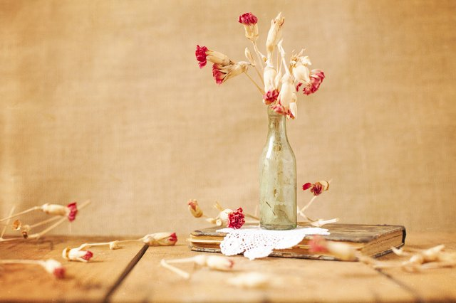 Beautiful dried flowers and book
