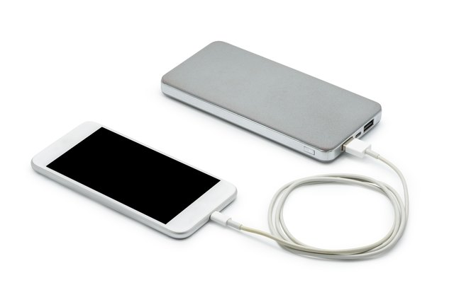 White smart phone charger with power bank (battery bank)