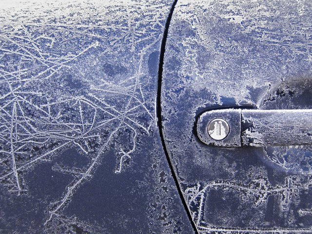 Winter hoarfrost on my car