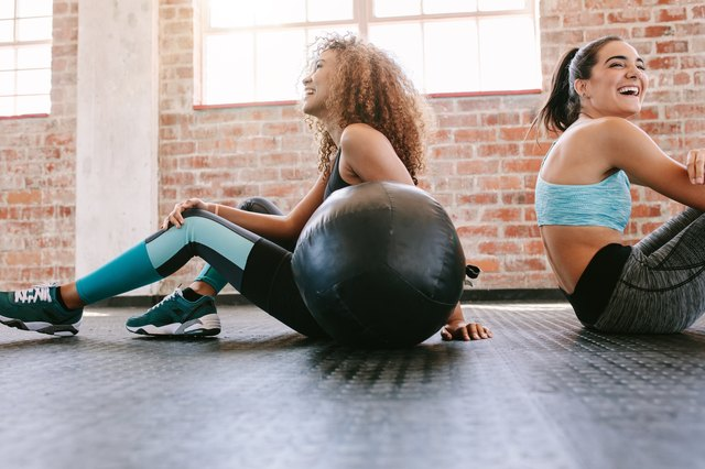 Young women taking a break from workout