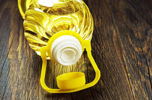 Canola oil in plastic bottle closeup