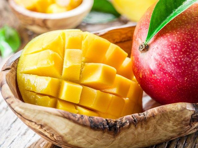 Mango fruit and mango cubes.