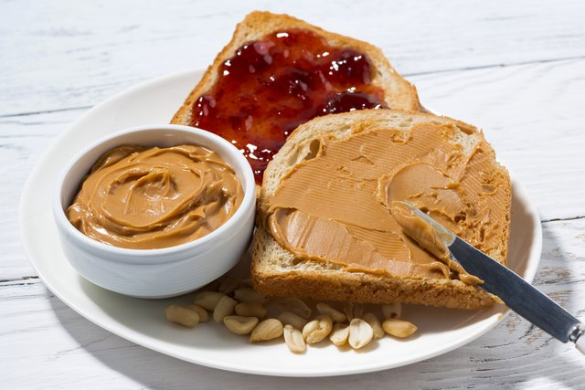 toast with peanut butter and jam for breakfast