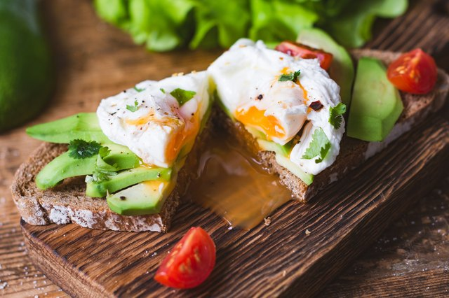 Sandwich with poached egg and avocado
