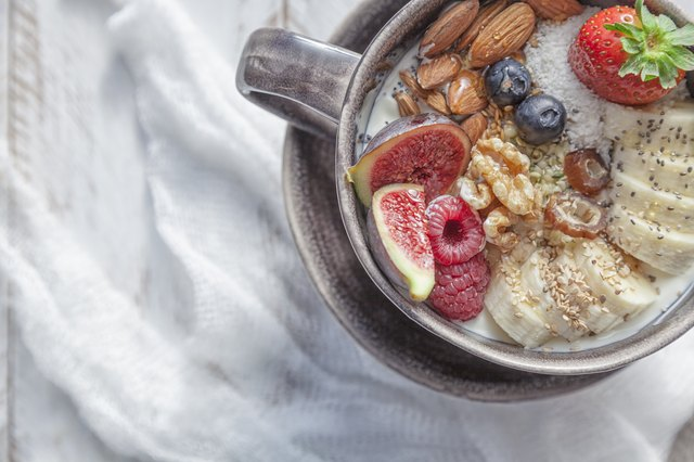 Greek yogurt topped with banana, berries, nuts and seeds