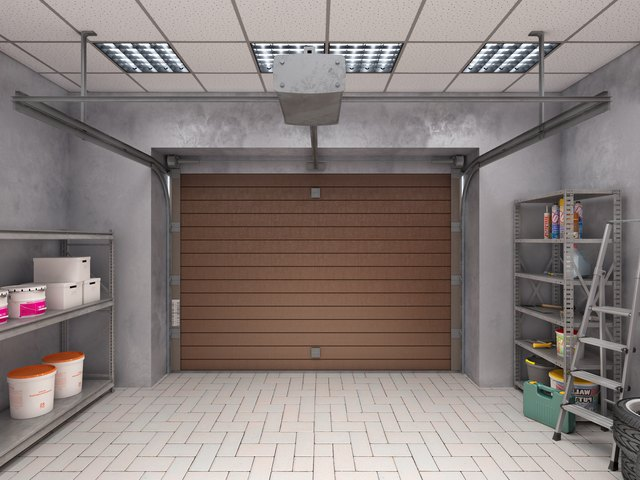 Garage with shelves