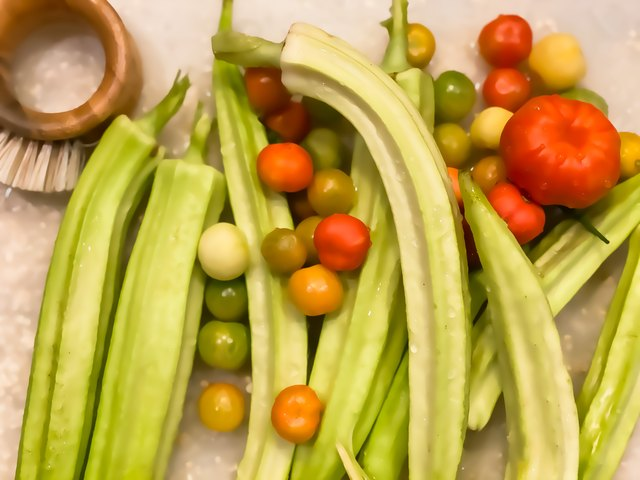 Fresh homegrown okra and heirloom tomatoes from the vegetable garden