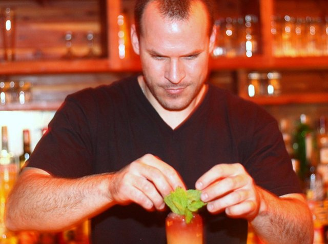 Jason Littrell prepares the Behind God's Back cocktail