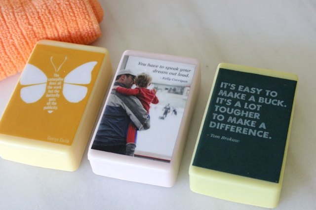 Soap bars with quote printables