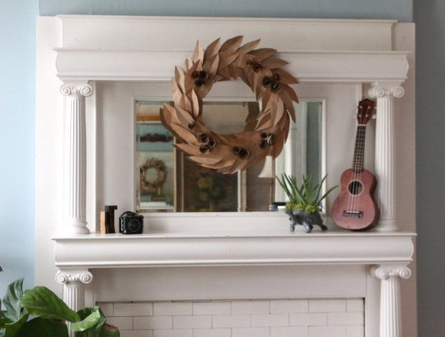 Make use of old grocery bags to create this fall-inspired wreath.