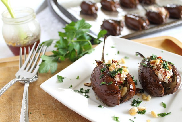 Eggplant is a great vehicle for stuffers, such as goat cheese.
