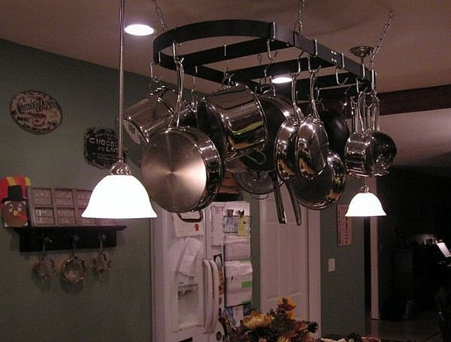 Hang A Pot Rack And Lights Over Kitchen Island