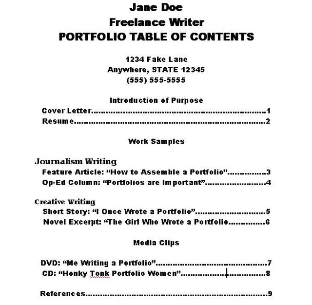 How To Make A Portfolio Table Of Contents Ehow