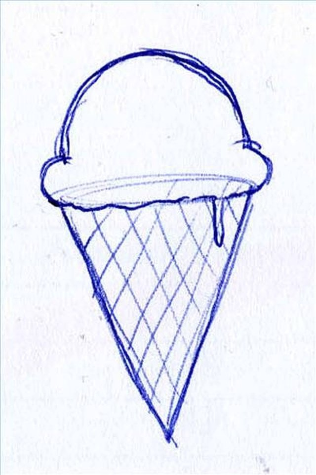 The Cloudlike Shape At Meeting Of Cone And Ice Cream Scoop For An Added Effect Draw A Drip Melting Down