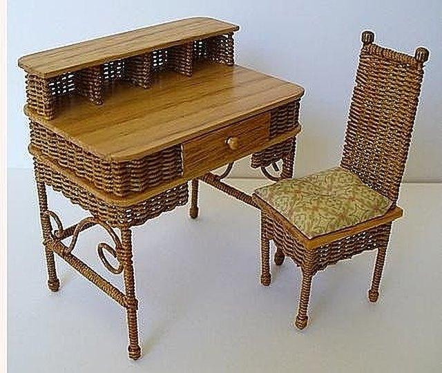 Beau Miniature Wicker Chair And Desk