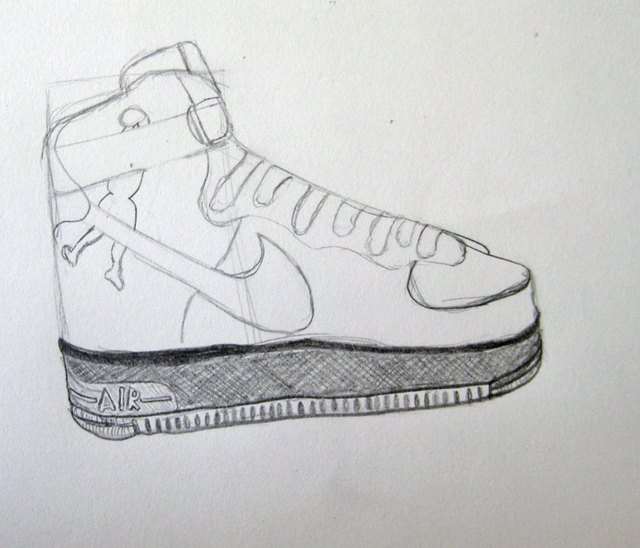 brand new 323d4 b0dbe Color in the sole of the shoe and sketch out the man on the side of