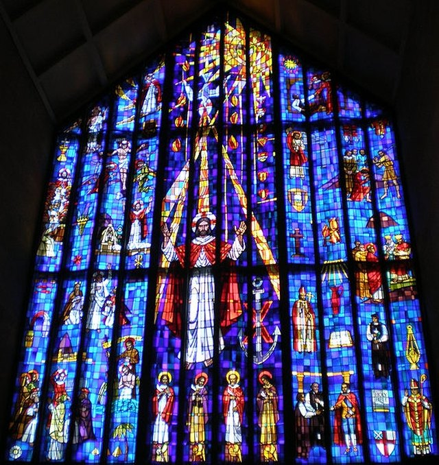 A Stained Gl Window Displayed In St Andrew S Catholic Church Honolulu
