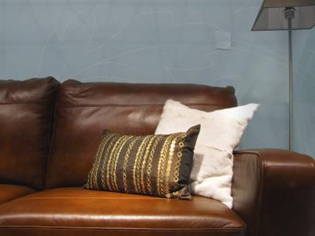 Brown Furniture With Pale Blue Paint Color