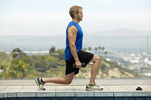 Man doing stationary lunge exercise for better sex