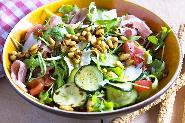 Pine nuts in salad.