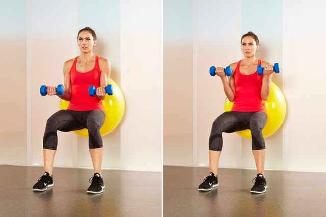 Woman performing stability-ball biceps curls.