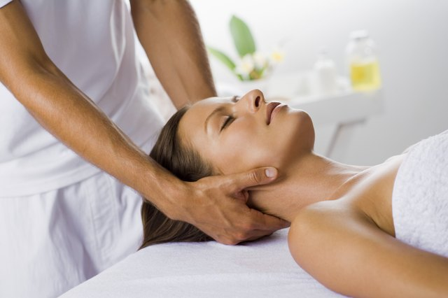 Woman having a head massage