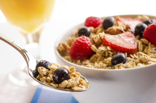 Granola with Bluberries, Raspberries, and Strawberries