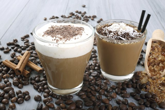 cappuccino and ice coffee