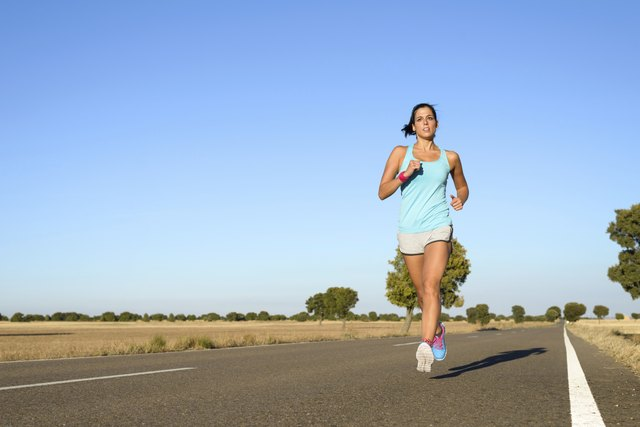 Woman running for marathon