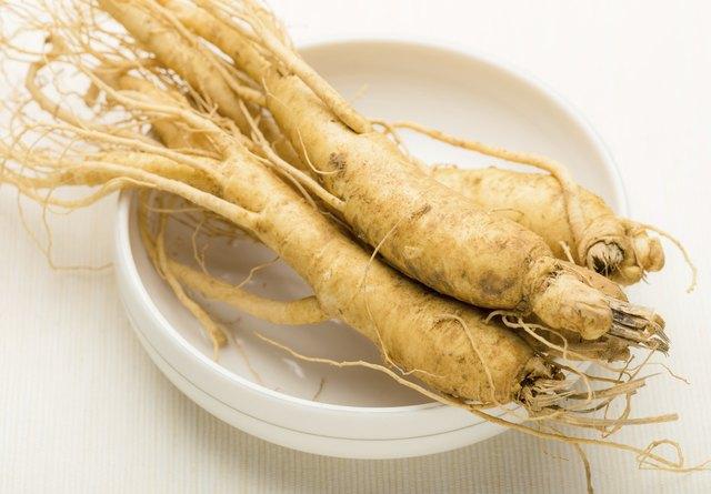 Fresh ginseng root texture