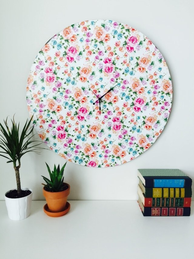 Use your favorite wrapping paper to create the face of a colorful wall clock.