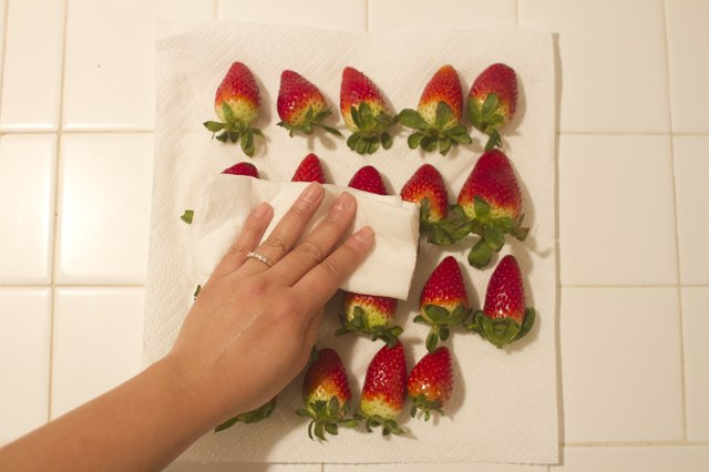 Pat your strawberries dry with a paper towel.