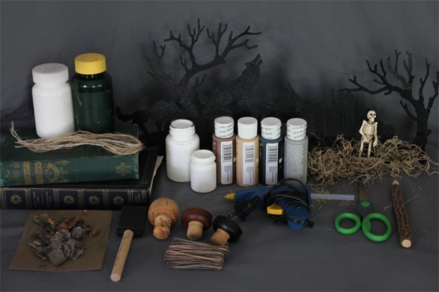 Supplies needed to make witch's jars