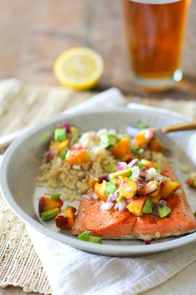 Grilled salmon with grilled peach salsa.