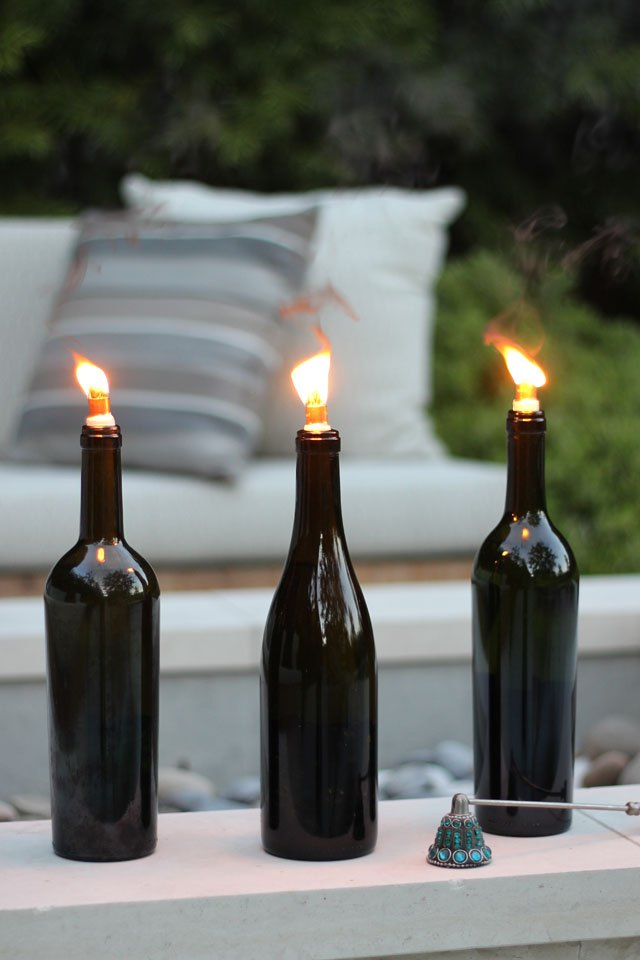 How to make a wine bottle tiki torch with pictures ehow for How to preserve wine after opening bottle