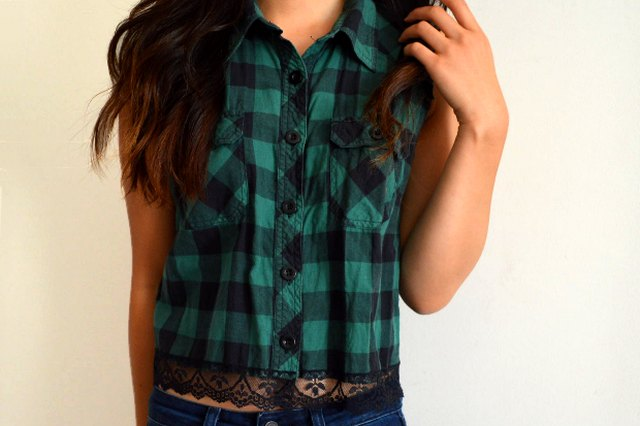 Add lace trim to a plaid shirt for a cool and casual look.