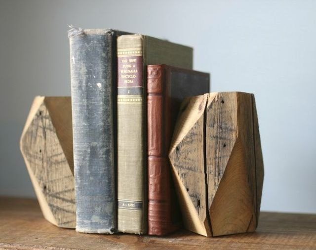 Salvaged wood turns into rustic bookends after a few angled cuts.