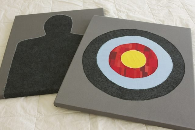 Faux targets -- the perfect funky decor for a man cave.