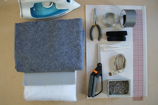 Supplies for the elephant costume.