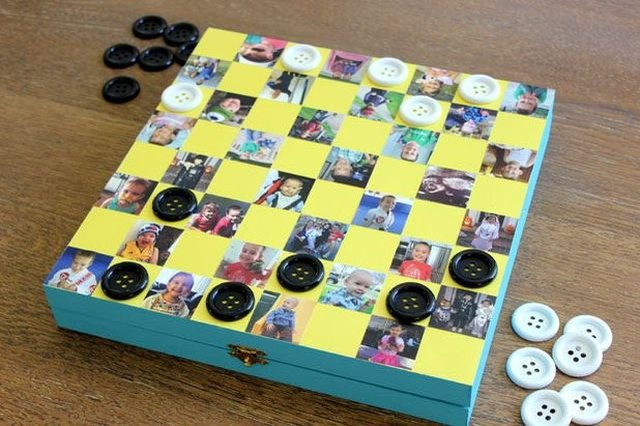 Use buttons in place of checkers for added DIY effect.