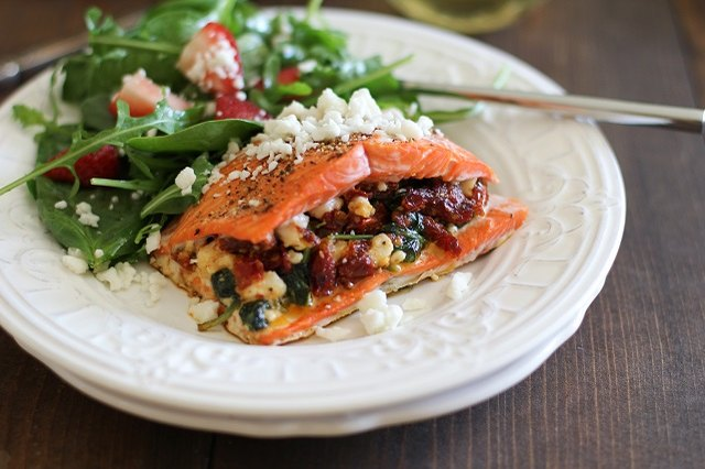 Stuffed salmon makes a hearty, healthy meal.