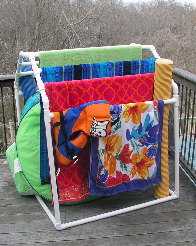 Store Your Pool Accessories And Towels With A PVC Towel Rack.