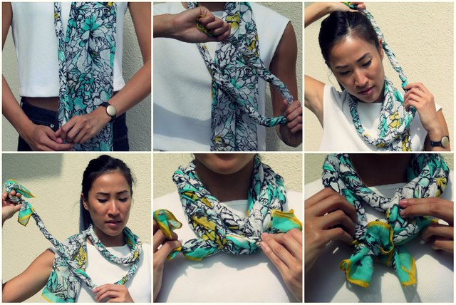 Steps for the twist around scarf.