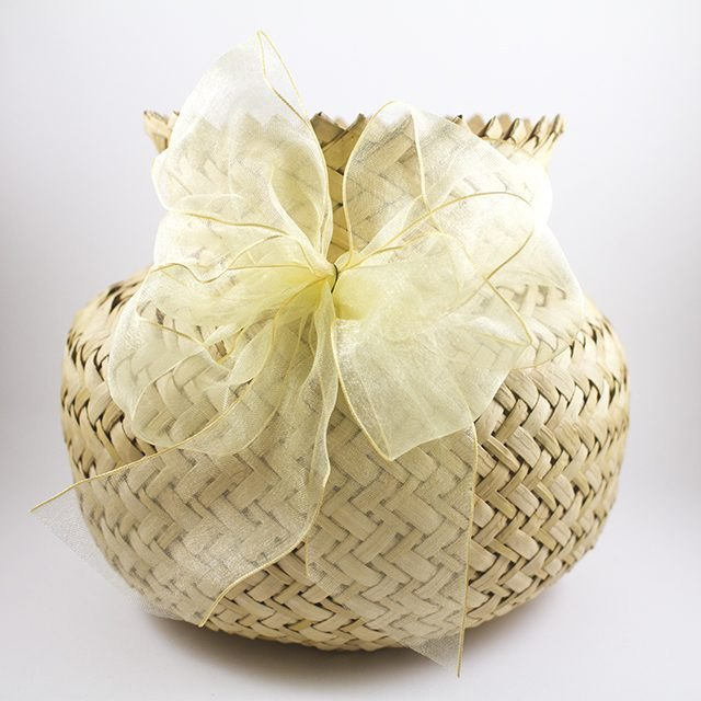 A beautiful bow adds a nice touch to any gift basket