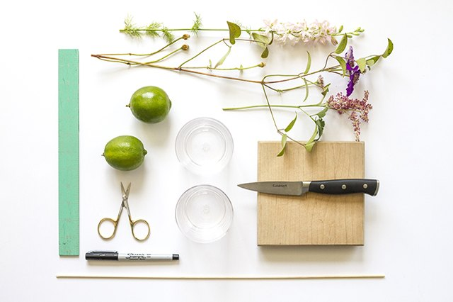 Gather your supplies to make the lime-slice-embellished flower arrangement.