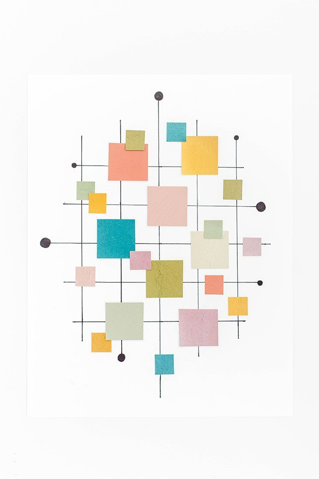 Diy mid century inspired paint chip wall art print ehow for Paint chip repair near me