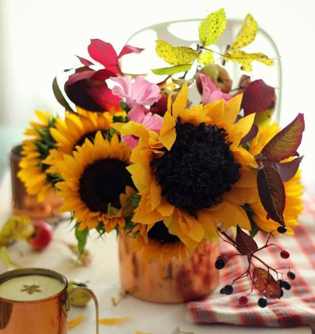 Paper sunflower centerpiece