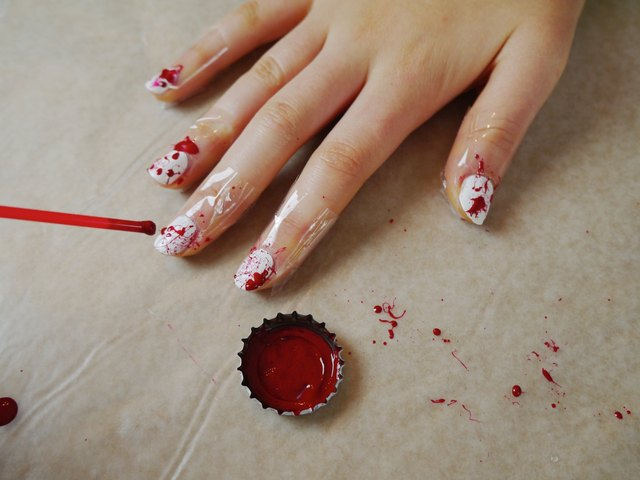 Halloween Blood Splatter Nail Art | eHow