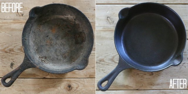 Restore rusted cast iron pans to their original glory.